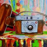 Camara by Maite Rodriguez, Acrylic on canvas, Painting, art, technology, still life, vintage, original, artwork,