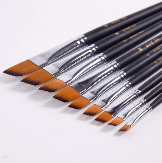 Draw Store - FLAT NYLON PAINT BRUSHES - SET OF 9